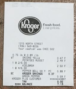 Kroger receipt for $7.13
