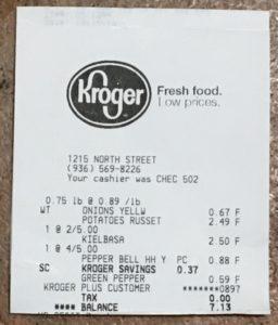 Kroger receipt for $7.13