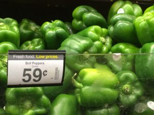 green pepper for 59 cents