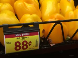 Yellow peppers with a price for 88 cents